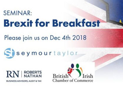 You are invited to join Seymour Taylor and Roberts Nathan at a Brexit for Breakfast Seminar on 4 December