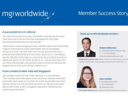 A successful London to New York referral helps an important consultancy client with operations in several markets all over the USA and the world