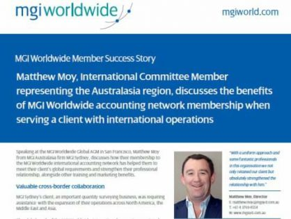 Matt Moy from MGI Sydney discusses the benefits of MGI Worldwide accounting network membership when serving a client with international operations.