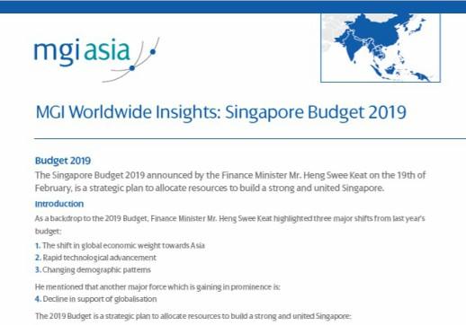 MGI Worldwide accountancy network member firm MGI N. Rajan Associates publishes white paper on the Singapore Budget 2019