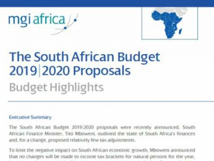 MGI Bass Gordon, MGI Worldwide global accounting network member firm in Cape Town, South Africa, publishes white paper outlining 2019/2020 Budget Highlights