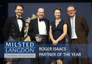 Roger Isaacs, Partner at Milsted Langdon and Chairman of MGI Worldwide, wins the prestigious British Accountancy Award of Partner of the Year