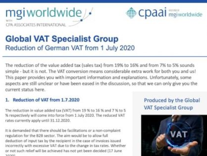 MGI Worldwide with CPAAI's Global VAT Specialist Group reports on the Reduction of German VAT from 1 July 2020