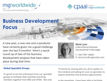 Interested in Business Development? Read more about what MGI Worldwide with CPAAI is doing to to explore new opportunities for its member firms around the world
