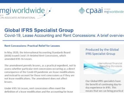 MGI Worldwide with CPAAI's Global IFRS Specialist Group gives a brief overview on Covid 19, Lease Accounting and Rent Concessions