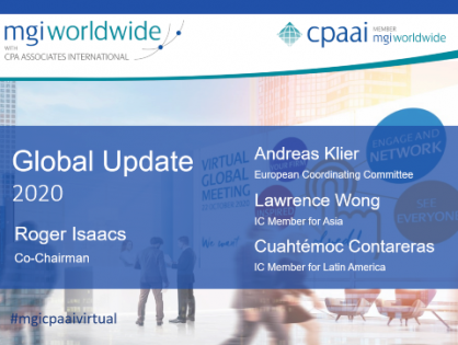 Did you miss the MGI Worldwide CPAAI 2020 Global Update? Watch a recording of the report by Co-chair, Roger Isaacs, and colleagues, recorded at the 2020 Virtual Global Meeting.